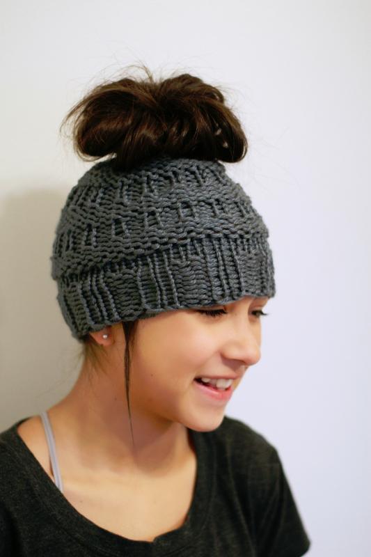 8ca8818ef6d Messy Bun Hat - Loom Knit